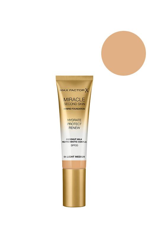 Max Factor Miracle Second Skin Foundation SPF20 Тональна основа 04 light medium