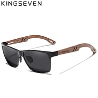 Поляризованные солнцезащитные очки с футляром KINGSEVEN W-5507 деревянная оправа