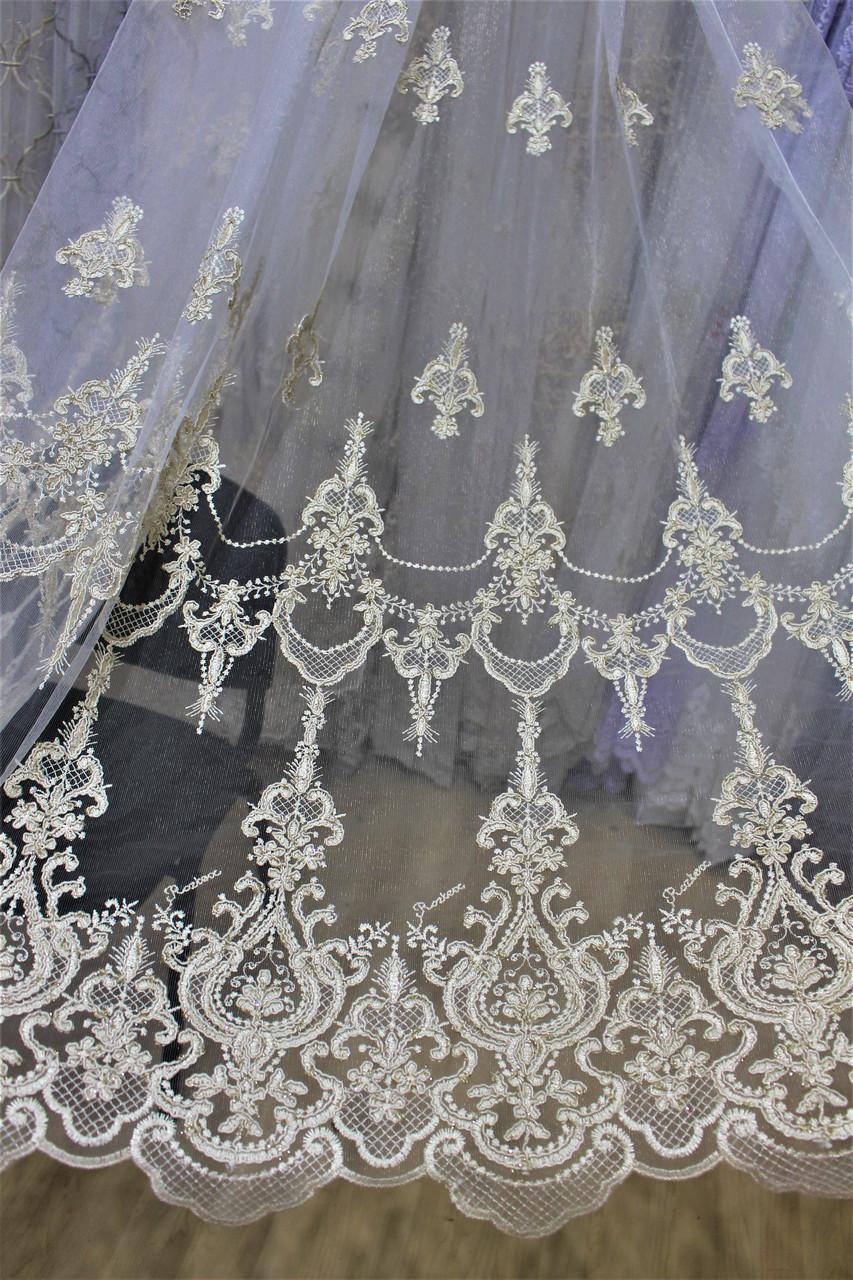 Тюль золото корона с вышивкой кордовой нитью по низу