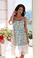 Красивое свободное летнее женское платье со вставкой из сетки внизу арт. 1067