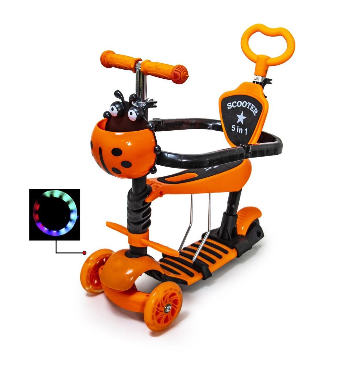 Детский самокат Scooter 5 в 1 Оранжевая Коровка с родительской ручкой и бампером (от 1 года)