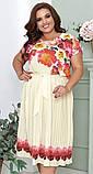 Нарядное летнее платье в пол 48, 50, 52, 54, больших размеров, с цветочным принтом и поясом, короткий рукав, фото 5