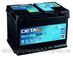 Аккумулятор DETA AGM Start Stop 6ст-70 Ач АзЕ R+ DK700 12V