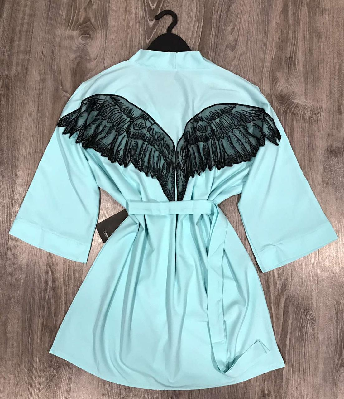 Хлопковый халат с аппликацией крылья ангела 043 мята.