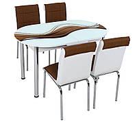 """Розкладний обідній кухонний комплект овальний стіл і стільці """"Коричнева хвиля"""" ДСП гартоване скло 75*130 Лотос-М"""