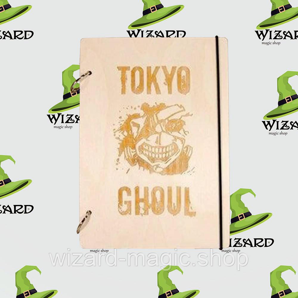 Деревянный блокнот А6 аниме Токийский Гуль (светлое дерево)