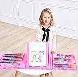 Набор для рисования 208 предметов для детей чемодан предметов DL124 розовый, фото 6