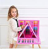 Набор для рисования 208 предметов для детей чемодан предметов DL124 розовый, фото 5
