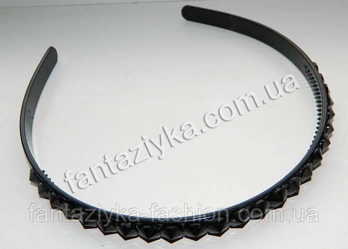 Пластиковый обруч для волос с камнями 10мм, черный