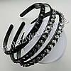 Пластиковый обруч для волос с камнями 10мм, черный, фото 2