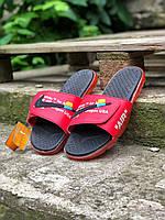 Шлепки тапки мужские летние стильные качественные модные красные Найк Офф-Вайт