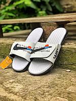 Шлепки тапки мужские летние стильные качественные модные белые Найк Офф-Вайт