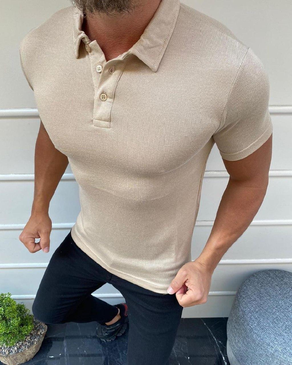 😜 Футболка - Мужская футболка поло белая с воротником