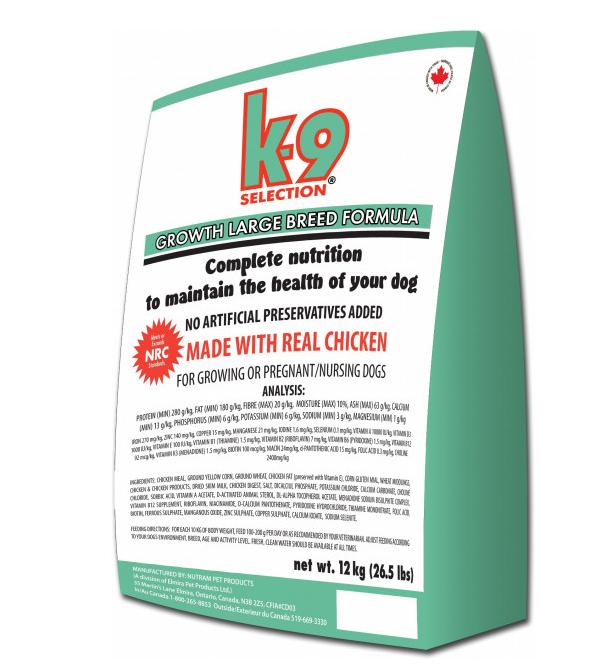 K-9 Селекшен Гроус Лардж Брид Selection Growth Large Breed сухой корм для щенков крупных пород, 12 кг