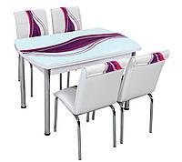 """Раскладной обеденный кухонный комплект полуовальный стол и стулья """"Фиолетовая волна"""" ДСП стекло 75*120 Лотос-М"""