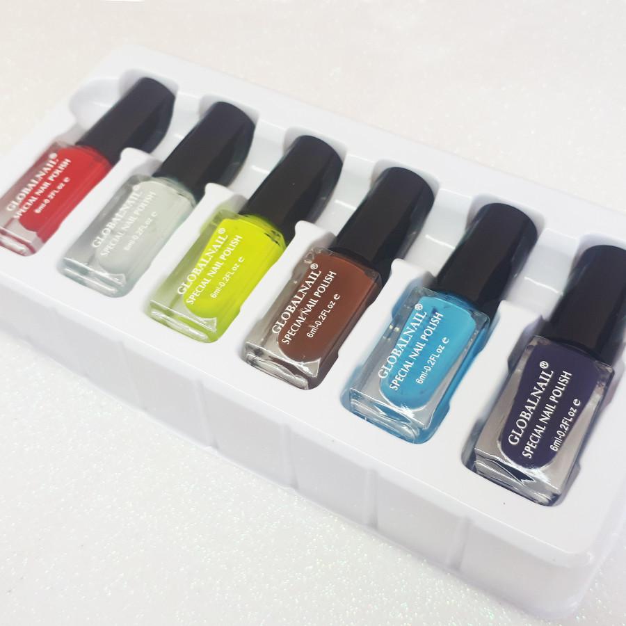 Набір лаків для стемпинга, 6 кольорів