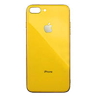 Чехол накладка xCase на iPhone 7 Plus/8 Plus Glass Silicone Case Logo yellow