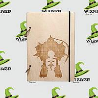 Деревянный блокнот А6 Стальной Алхимик (светлое дерево), фото 1