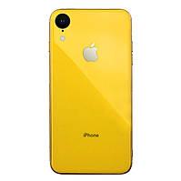 Чехол накладка xCase на iPhone XR Glass Silicone Case Logo yellow