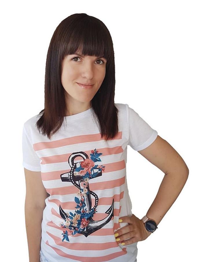 """Стильная женская белая футболка """"Якорь"""" с ярким оригинальным принтом"""