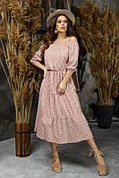 Женский лений сарафан удлиненный стильный и легкий прошва размер: 42-44, 46-48, фото 1