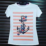 """Стильная женская белая футболка """"Якорь"""" с ярким оригинальным принтом, фото 3"""