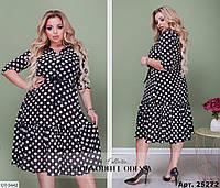 Нарядное женское летнее платье в горошек больших размеров 56-58