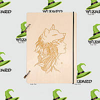 Деревянный блокнот А6 Девушка Волк (светлое дерево), фото 1