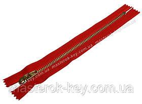Молния джинсовая Тип 4,5 18см неразъемная цвет Красный 519 зубья золото