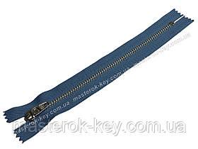 Молния джинсовая Тип 4,5 18см неразъемная цвет Синий 756 зубья никель