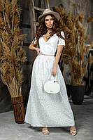 Женский лений сарафан длинный стильный и легкий прошва размер: 42, 44, 46, фото 1