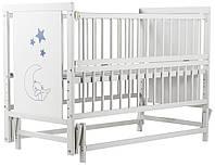 Кровать Babyroom Медвежонок M-02 маятник, откидной бок бук белый