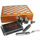 Мужской подарочный набор шахматы с влягой рюмками вилой и ложкой №QZ8, фото 2