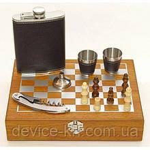 Мужской подарочный набор шахматы с влягой рюмками вилой и ложкой №QZ8