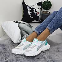 Спортивная женская обувь белая с мятными вставками