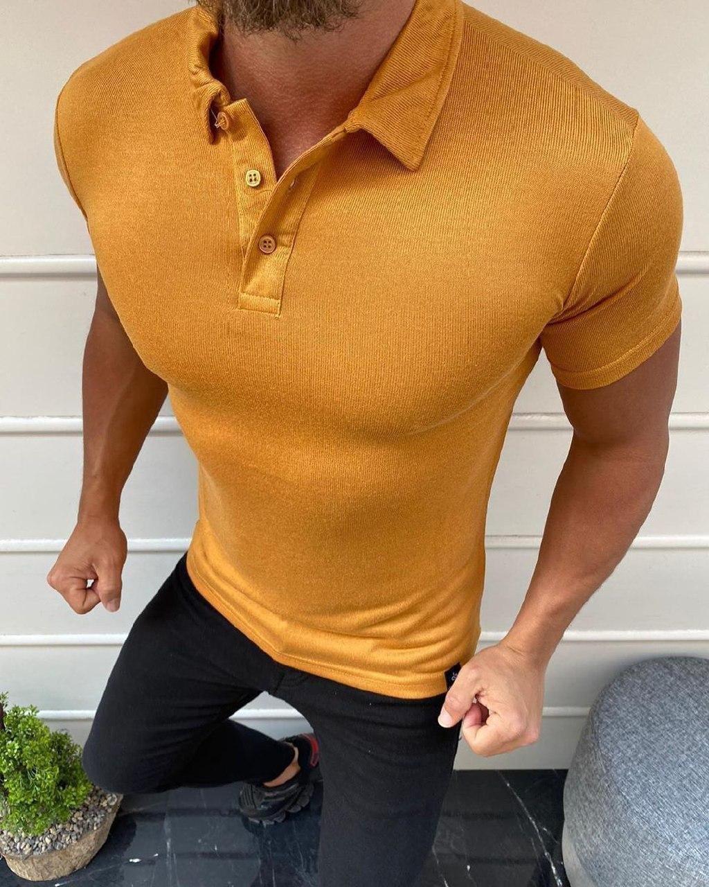 😜 Футболка Чоловіча футболка поло гірчична з коміром