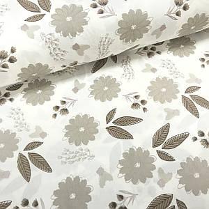 Ткань поплин цветы серо-коричневые на белом (глиттер) (ТУРЦИЯ шир. 2,4 м)