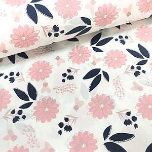 Ткань поплин цветы сине-розовые на белом (глиттер) (ТУРЦИЯ шир. 2,4 м)