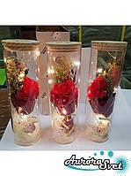 Роза в колбе с LED подсветкой красная, вечная роза.Лучший подарок!