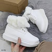 Белые женские ботинки с мехом, фото 1