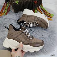 Демисезонные бежевые женские кроссовки на толстой подошве, фото 1
