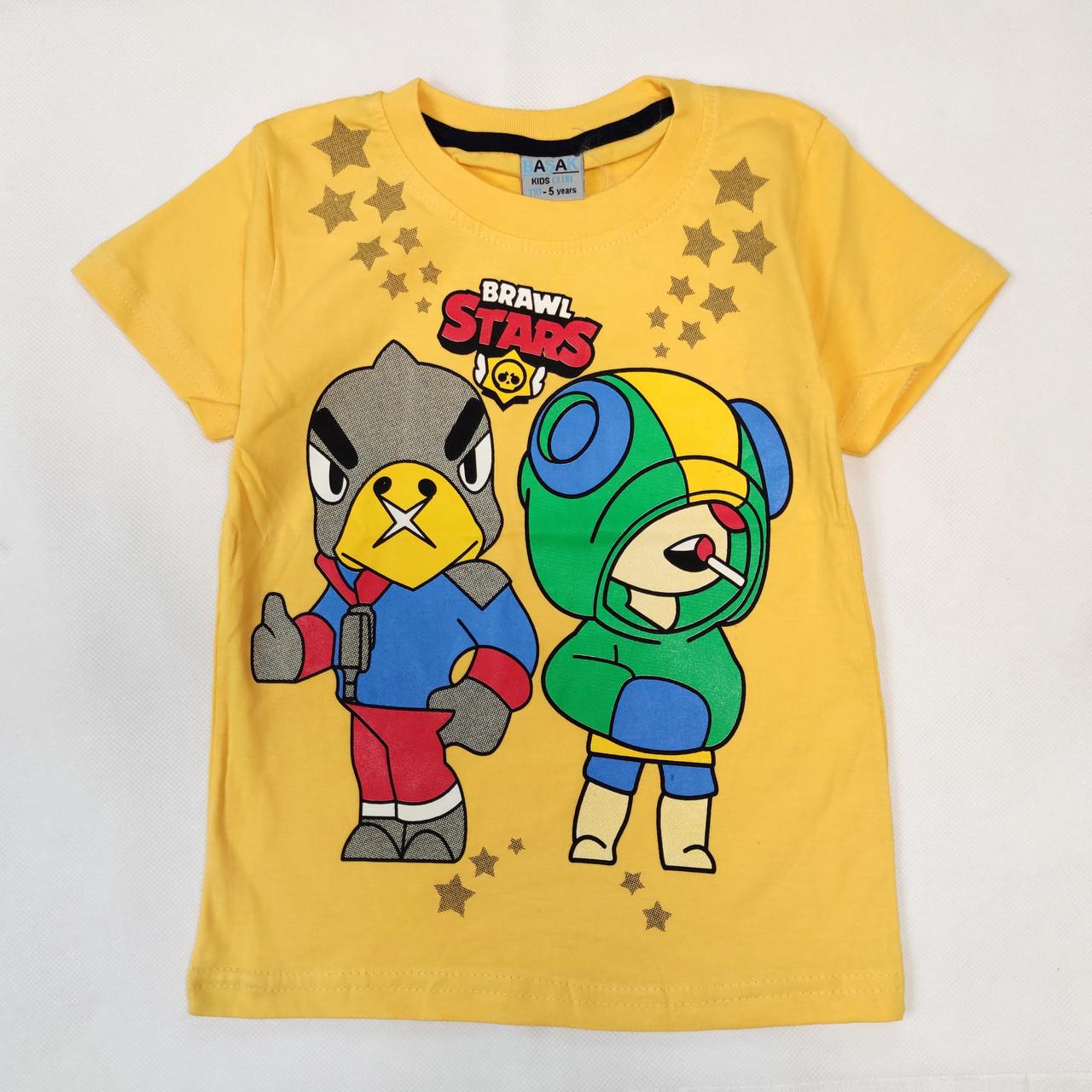 Детская футболка для мальчика бравл старс brawl stars желтая 4-5 лет