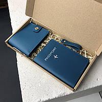 Обложка на паспорт. Брелок на ключи. Бумажник. Подарочный набор синий из натуральной кожи. Ручная работа
