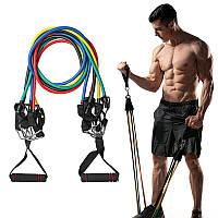 Набор трубчатых эспандеров для фитнеса и упражнений 5 шт Разноцветные