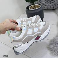 Кроссовки светлые с серыми вставками для модниц, фото 1