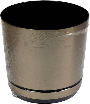 Горщик квітковий пластиковий d160мм-11,v-2,5 л срібло(10)
