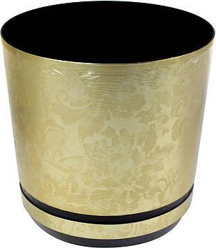 Горщик квітковий пластиковий d210мм-09,v-6,5 л золотий візерунок(10)