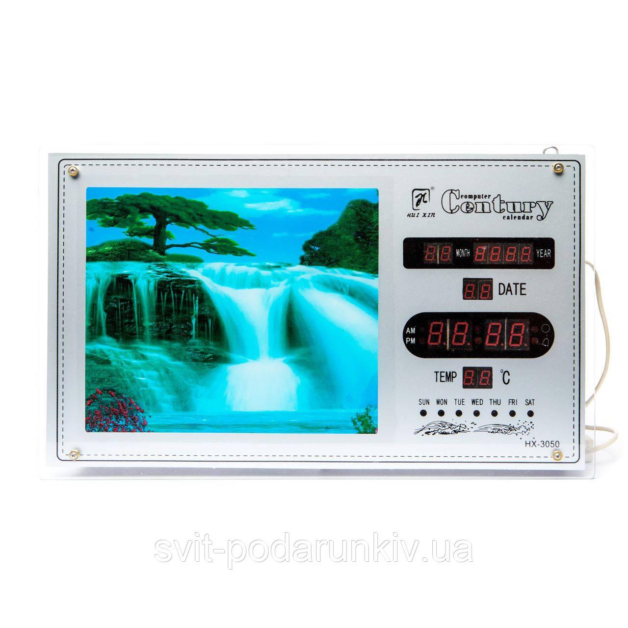 Настенные электронные часы в виде картины с водопадом №2