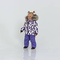 Теплый детский зимний комбинезон и мехом и ярким принтом