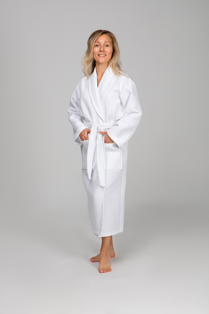 Женский халат XL, вафельный, белый, 100% хлопок